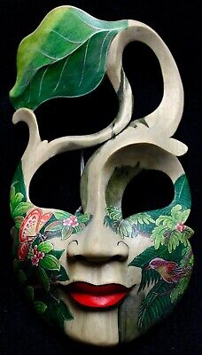 Balinese Mask Butterfly Goddess painted carved wood Bali Wall Art