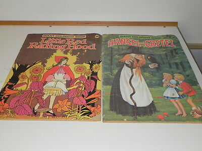 Little Red riding Hood & Hansel & Gretel Coloring Book Giant 1975 By Playmore