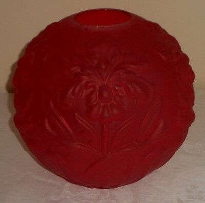 "C.1890s Pittsburgh Puffy Iris Red Satin Glass GWTW Oil Lamp 4"" Fitter Ball Shade"