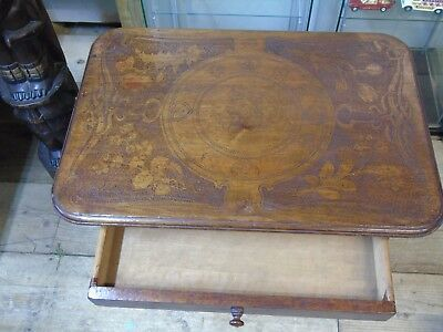 Antique Victorian Mahogany Wooden Table With Wheels