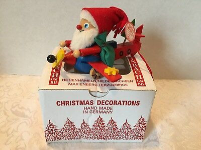 steinbach handmade german wood christmas ornament santa in plane germany in box - German Handmade Wooden Christmas Decorations