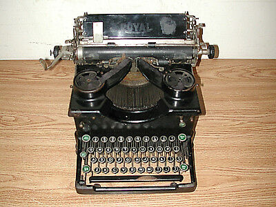 Antique Vintage Black Royal #10 Manual Typewriter With Dual Glass Side Panels