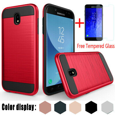 For Samsung Galaxy J7 Star/Refine/Crown/V 2018 Brushed Armor Case+Tempered Glass