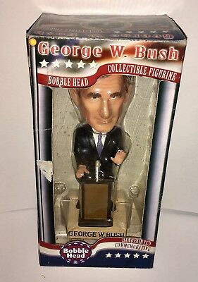 GEORGE W. BUSH BOBBLE HEAD COMMEMORATIVE HAND PAINTED FIGURE 43rd PRESIDENT