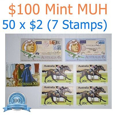 $100 Face Value Full Gum Stamp MUH $2x50 Bulk Postage Mint Post AU Letter Parcel