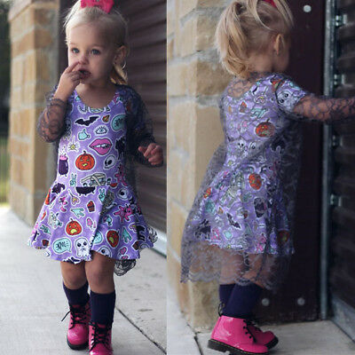 Halloween Toddler Girl Princess Kids Baby Party Pageant TuTu Tulle Dress Outfits