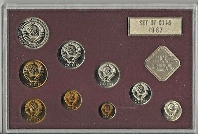 1987 Russia 9 Coin Proof Set - 9 Coins and Mint Token