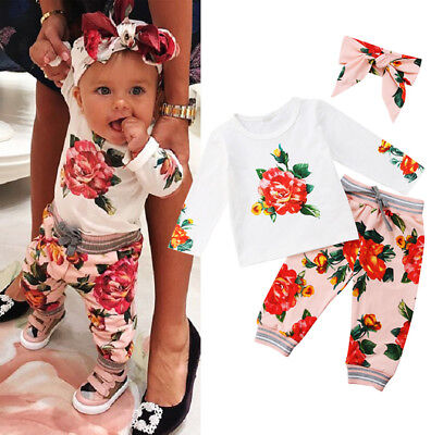 Newborn Infant Baby Girls Royal Floral Tops Pants Headband Outfits Set Clothes