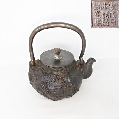 E577: Japanese signed iron kettle TETSUBIN with wonderful great relief work