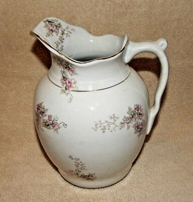 Antique - Fine Porcelain China - Water Pitcher - Marked #719 - Trimmed in Gold