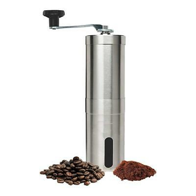Manual Coffee Grinder Conical Burr Mill for Precision Brewing Brushed Stainless