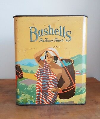 Vintage BUSHELLS TEA TIN - Blue Label - Early Australian BUSHELLS TIN - TEA TIN