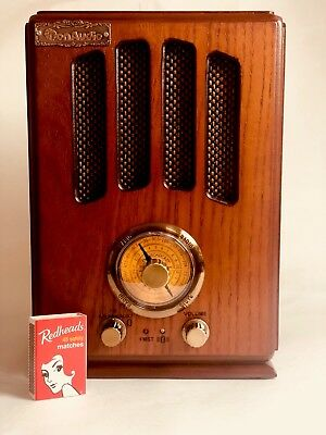 Retro Style Table Radio Wood Cabinet Old fashioned Style AM FM Bluetooth AUX in