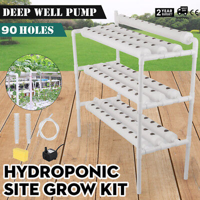 Hydroponic Grow Kit 90 Sites 10 Pipes Garden Plant Vegetable Tool Berries GOOD