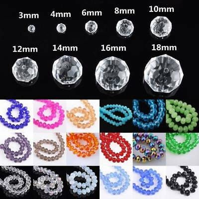 Rondelle Faceted Crystal Glass Loose Spacer Bead Wholesale 3mm/4mm/6mm/8mm/10mm