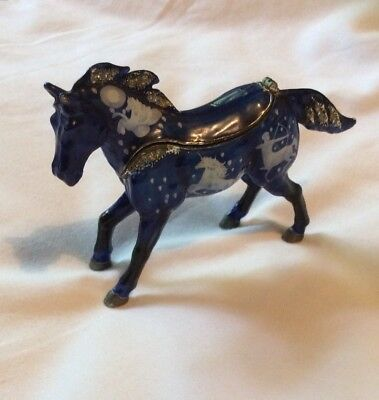 Jewelled Horse Trinket Box Statue Enamelled Crystals Inlayed Horse