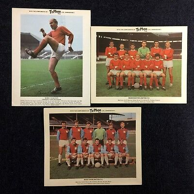 3  X A4 1960's Typhoo Tea Football Cards -  Manchester United West Ham Charlton