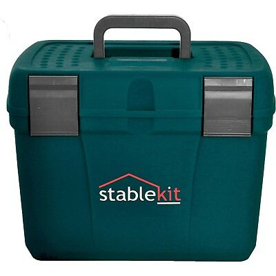 Stable Kit Tack And Unisex Horse Care Grooming Box - Petrol Blue/grey One Size