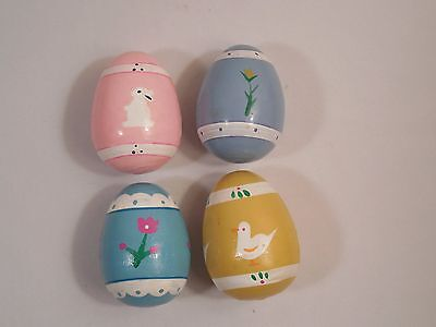Vintage Lot of 4 Handcrafted Wooden Easter Eggs ~ Yellow Pink Blue Violet Colors