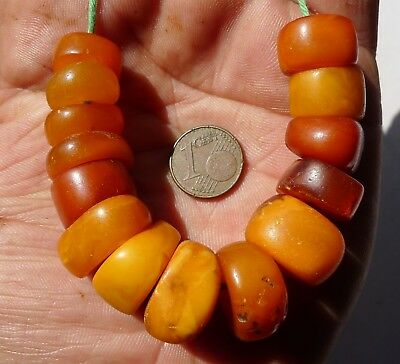Antique Butterscotch Eggyolk Amber Bead Mali Morocco Perle Ambre Ancien Maroc