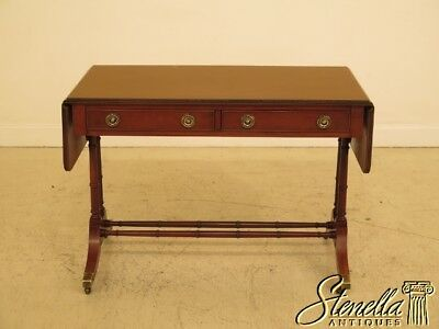 29794EC: HEKMAN Yew Wood Drop Leaf Library Table Writing Desk