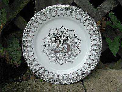 25Th Anniversary Porcelain Plate Norcrest Japan Silvertone Floral Flowers Roses