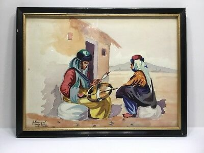 1960 Watercolor Art Painting Iran Teheran Signed A. Noussurian, Studio Decor