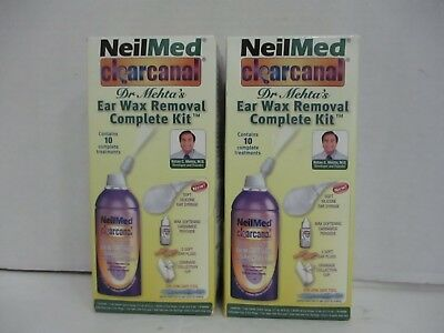2 NeilMed CLEARCANAL EAR WAX REMOVAL COMPLETE KIT 1-KIT EACH EXP 8/18 DE 4676