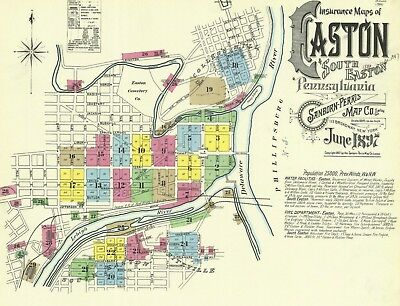 Easton, Pennsylvania~Sanborn Map© sheets with 29 maps in color made in 1897