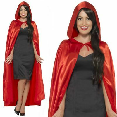 Adult Unisex Mens Ladies Red Hooded Cape Cloak Fancy Dress Costume Accessory New