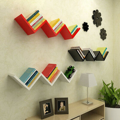 Floating Wood Wall Shelf Corner Storage Display Shelves Furniture Home Decor US