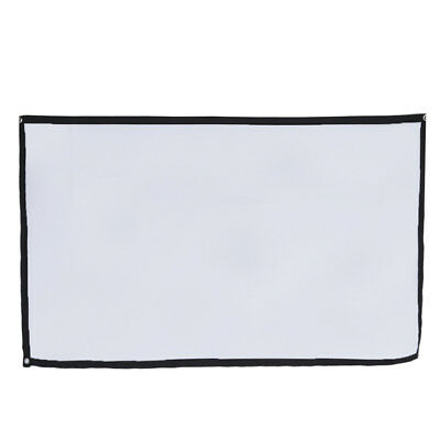 40-120 Inch 16:9 Projection Screen Curtain Non-Woven Fabric White Soft US