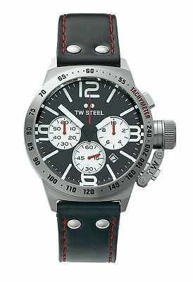 TW Steel Men's Canteen TWCS7 Quartz Chronograph Strap Watch - Black/Silver.