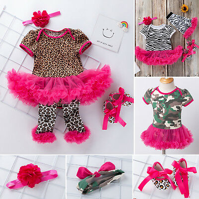 2/3/4PCS Newborn Infant Baby Girls Clothes Toddler Kids Dress Headband Outfits