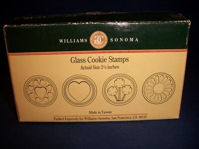 4 Williams Sonoma Glass Cookie Stamps Hearts Flower Shamrock Heart