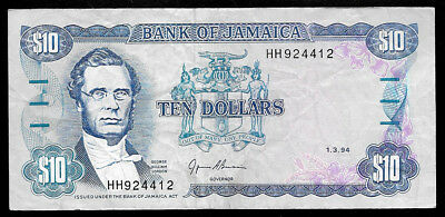 World Paper Money - Jamaica $10 Dollars 1994 @ VF