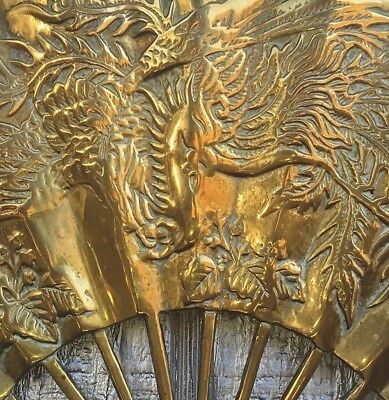 Solid Brass Fan Embossed Flying Dragon Oriental Wall Hanging Home Decor