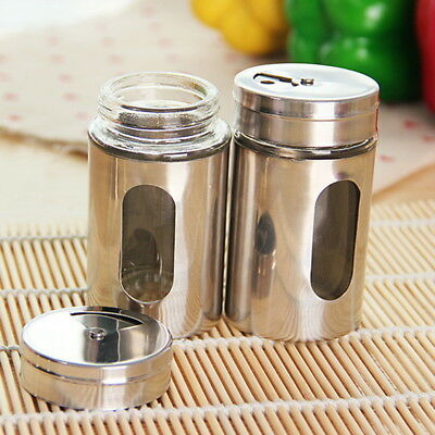 2Pcs Spice Salt Pepper Shaker Jar Rotate Cruet Storage Bottle Stainless Steel JR