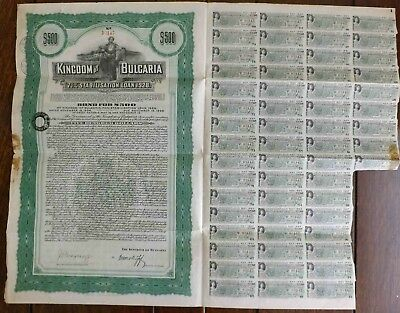 Kingdom of Bulgaria - 7.5 % Stabilisation Loan 1928 Bond With Coupons