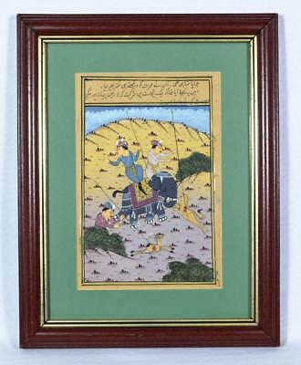 Antique Indian Painting Hunting Scene Early 20thC
