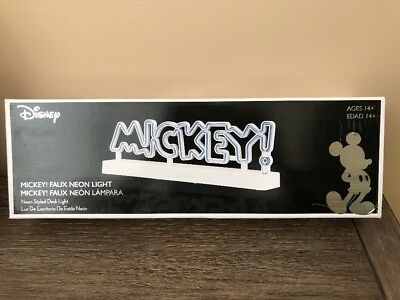 Mickey Mouse Faux Neon Light Desk Lamp New