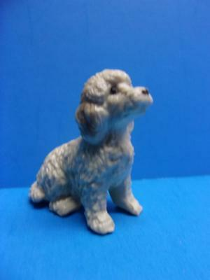 "Vintage Plastic Dog Poodle Figurine Small Miniature 1.75"" Tall Made in Hong Kong"