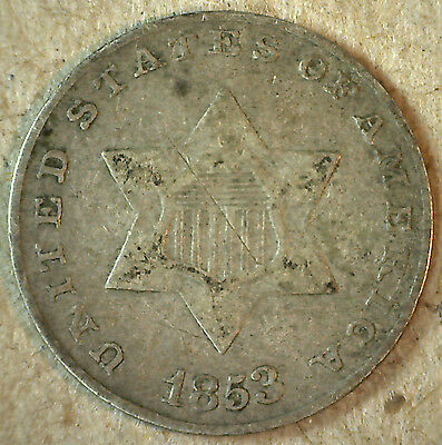 1853 Variety I Three Cent Piece Silver US United States Type Coin 3 Cent Fine y2