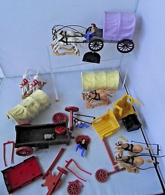 Vintage Timpo Covered Wagon Stagecoach  Horses Parts Wild West