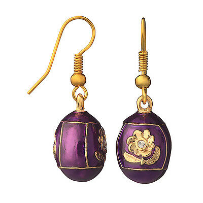 Faberge Egg Earrings with Flower 0.7'' (1.8 cm) purple #P1-10