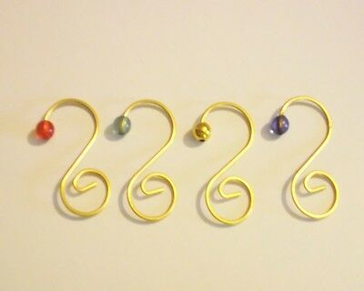 Choose Your Bead Color Set Of 10 Ornament Hangers With Gold-Tone Swirl New