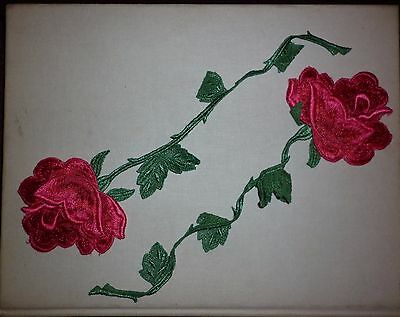 Vintage  Pair Embroidered  Large Red Rose Motif Trims Good Condition