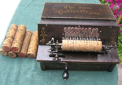Antique Gem Roller Organ Working Music Box Pinned Cob Reed Player with 7 Rolls c