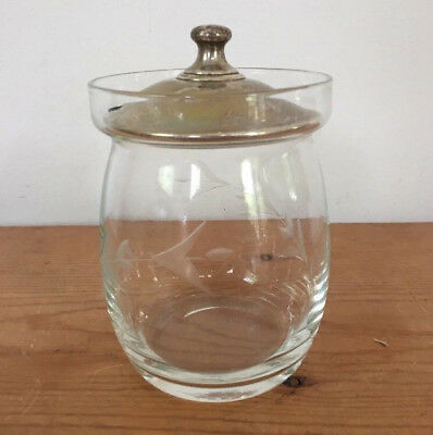 Vintage Sterling Silver Etched Glass Sugar Jar Condiment Mustard Pot Jelly Jar