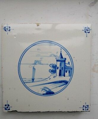 Antique Dutch Delft tiles late 1800's to early 1900's - hand painted landscape